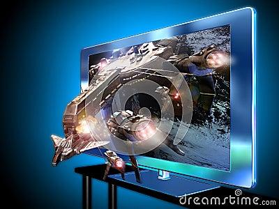 3D conduziu a televisão