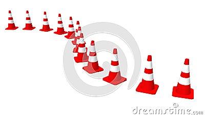 3D cones red white 01