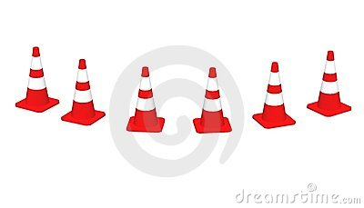 3D cones red white 07