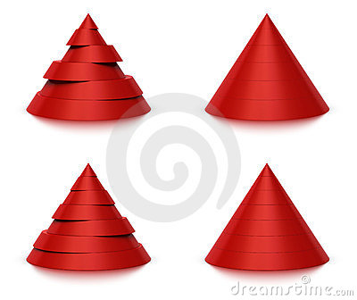 3d conical shape 6 or 7 levels