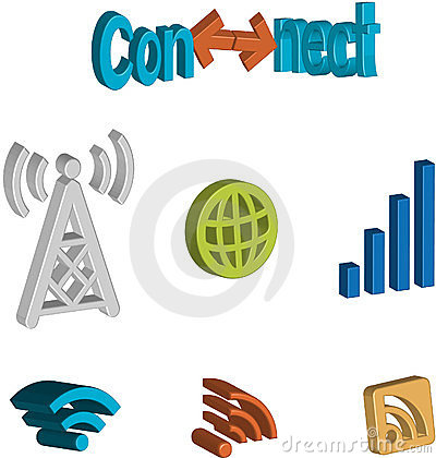 3D connectivity icon set