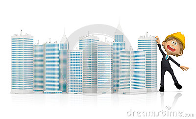 3D Construction worker with buildings