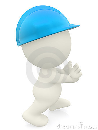 3D construction worker pushing something