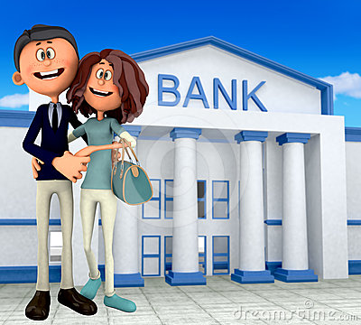 3D couple at the bank
