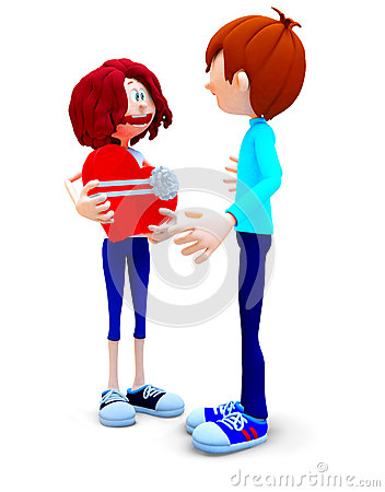 3D couple with a gift