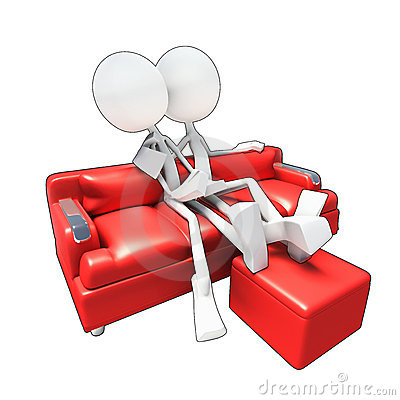 3D couple sitting on sofa watching tv