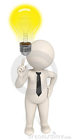 Free 3d Creative Business Man Got An Idea - Bulb Royalty Free Stock Photography - 23660627
