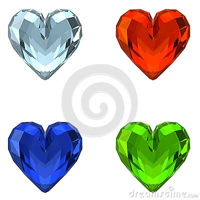 Free 3D Crystal Hearts Stock Photo - 32563840