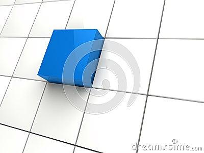 3d cube blue area