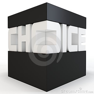 3d cube with choice text