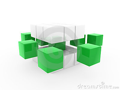 3d cube green white Stock Photo