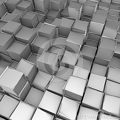 3d cube shape backdrop in silver chrome