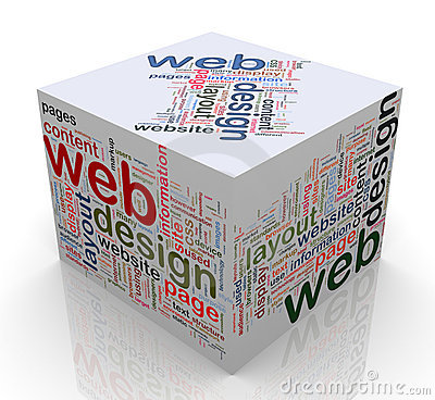 3d cube with  web design  tags
