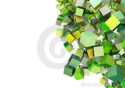 3d cubes in multiple green
