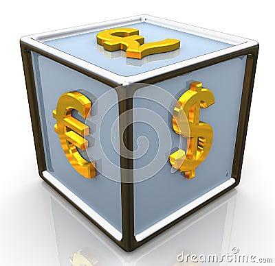3d currencies symbols signs cube