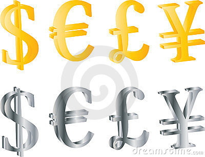 3D currency symbols