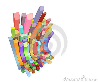 3d curved rectangular shapes in multiple color