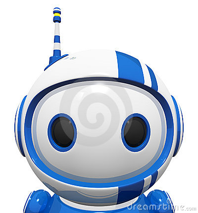 3d Cute Blue Robot Portrait Close Up