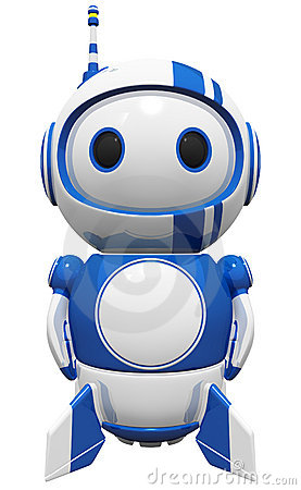 3d Cute Blue Robot standing tall ready to fly