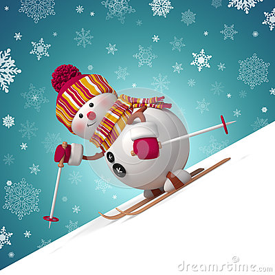 Free 3d Cute Funny Skiing Snowman Royalty Free Stock Photo - 35236775