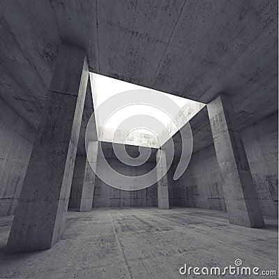 Free 3d Dark Concrete Room Interior With Columns Stock Photos - 53710083