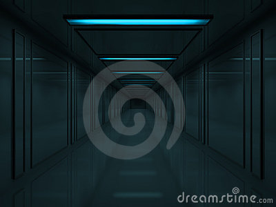 3d Dark corridor with blue lamps on ceiling