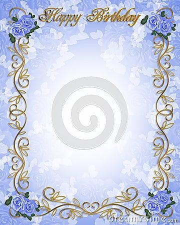 3D de uitnodigings Blauwe rozen van de verjaardag