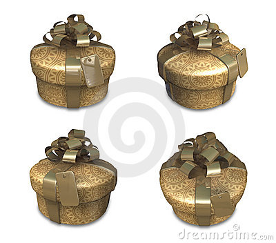 3d decorated gold gift