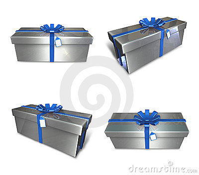 3d decorated gray gift