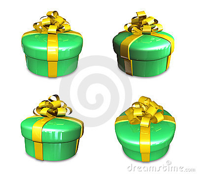 3d decorated green gift