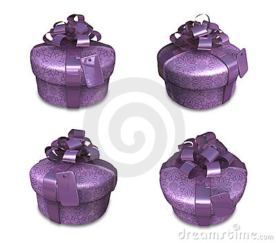 3d decorated purple gift