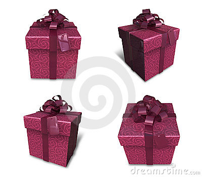 3d decorated red gift