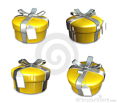 3d decorated yellow gift