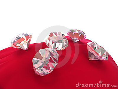 3d diamonds on red velvet