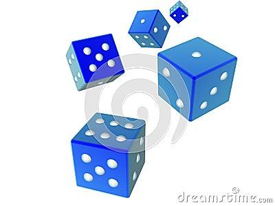 3D dices - Blue