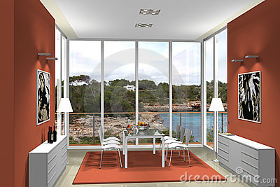 3D dining room with fantastic view