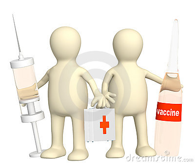 3d doctors with a vaccine