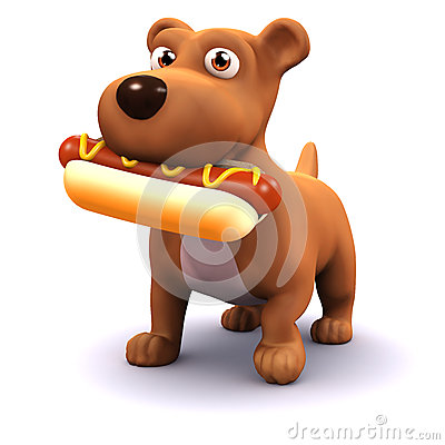 Free 3d Dog With Hot Dog Stock Images - 38278454