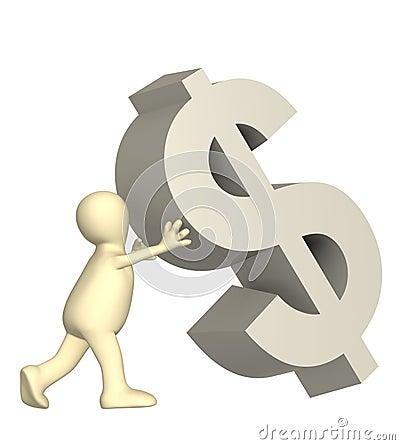 3d dolarowy spada kukiełkowy podporowy symbol