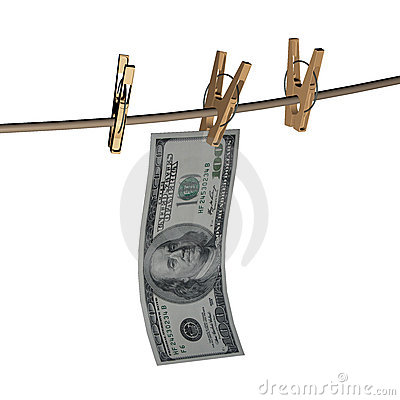 3d dollar is hanging on a wooden clothespin