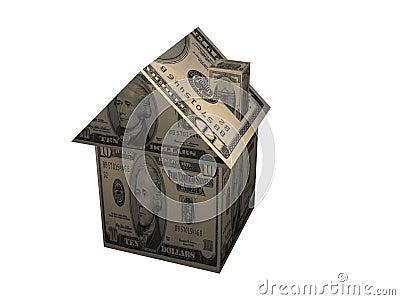 3D dollar paper home