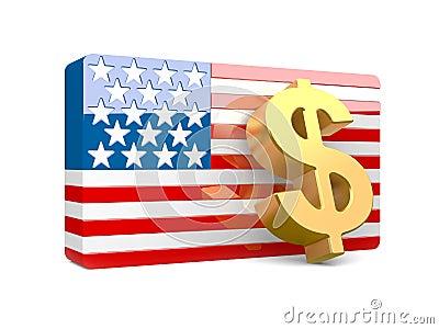 3D dollar sign and USA flag
