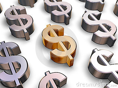 3D Dollar symbols