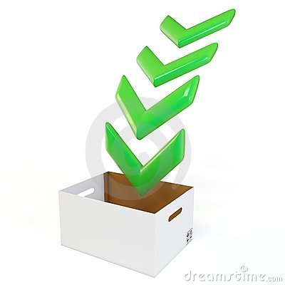 3d download box with green arrows