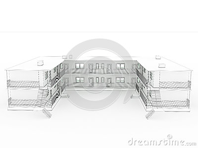 3D drawing of the hotel №1