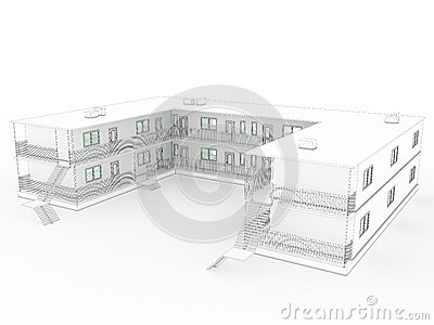3D drawing of the hotel №2