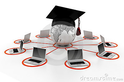 3d e-learning concept, isolated on white