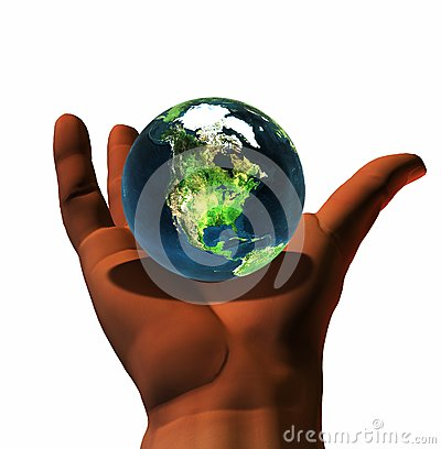 3D earth on 3D hand