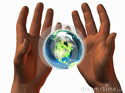 3D earth on 3D hands