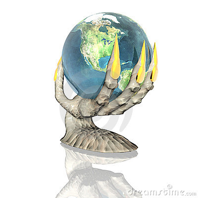 3D earth in alien hand isolated on a white